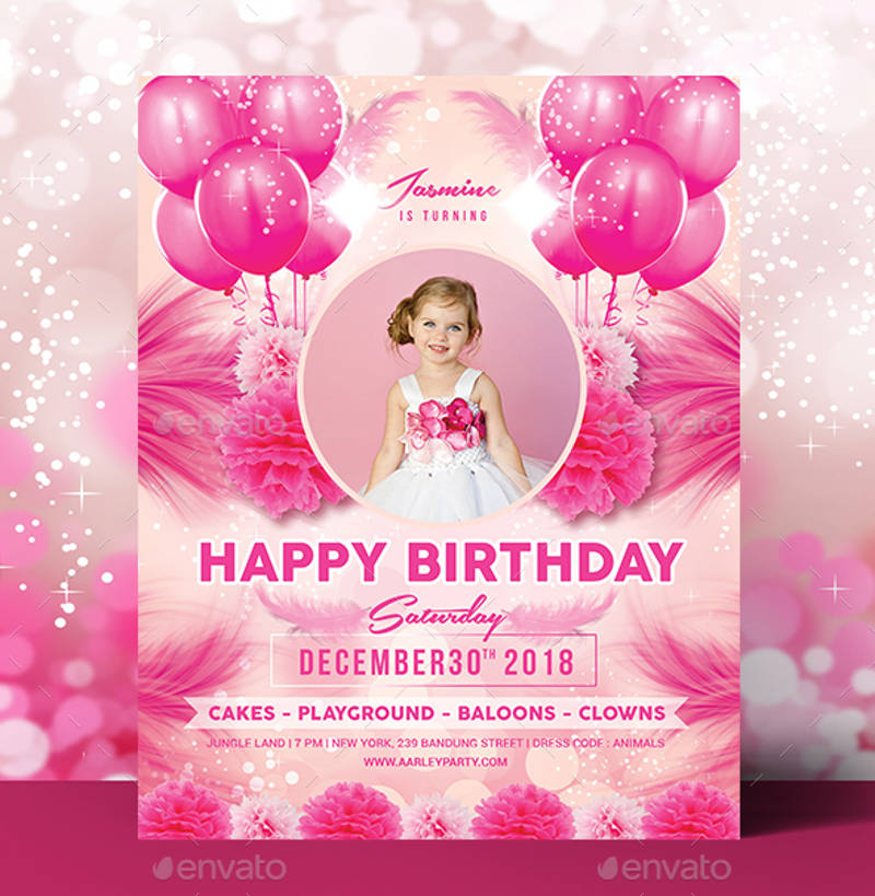 kids birthday invitation in psd