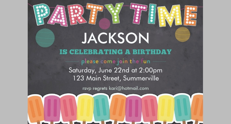 kids celebration birthday invitation