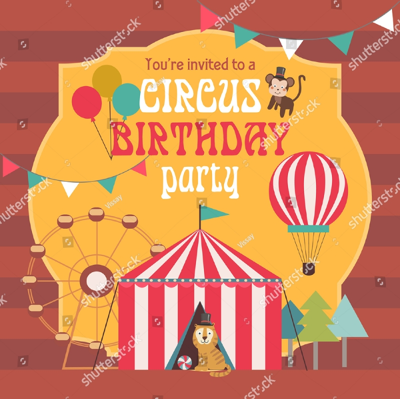kids circus birthday invitation