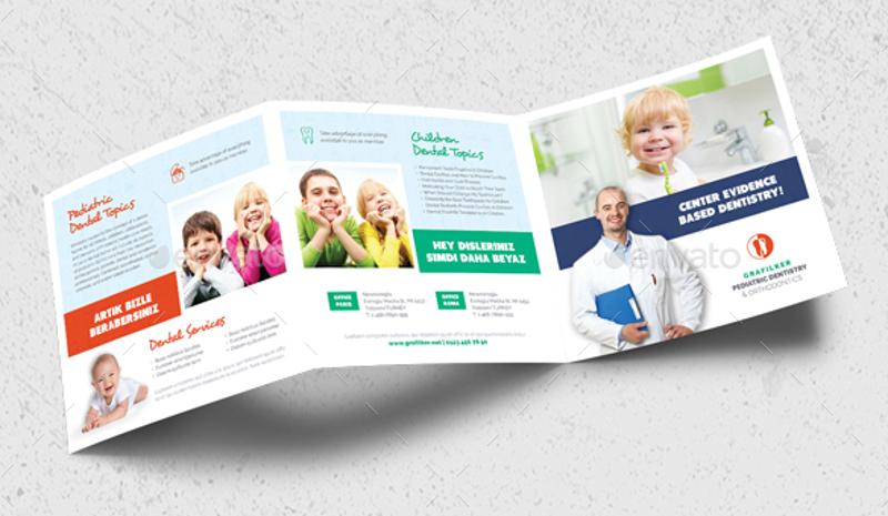 kids dental square brochure template