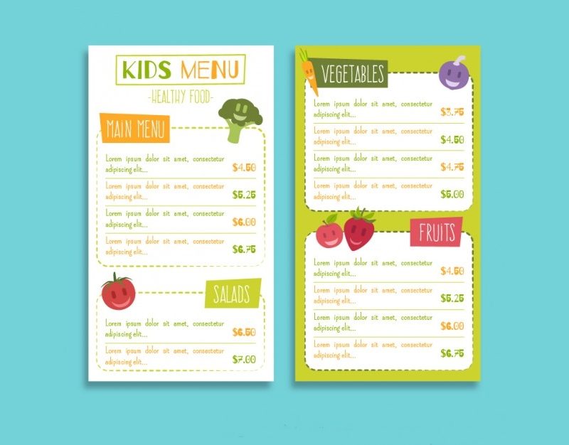 kids healthy food menu