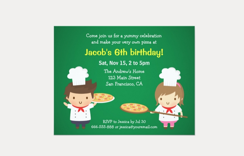 kids pizza party invitation