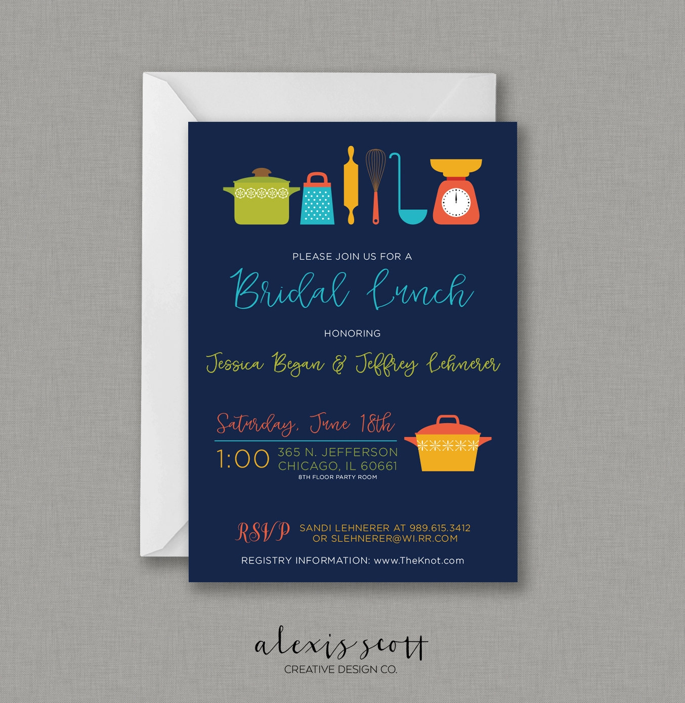 kitchen themed bridal lunch invitation