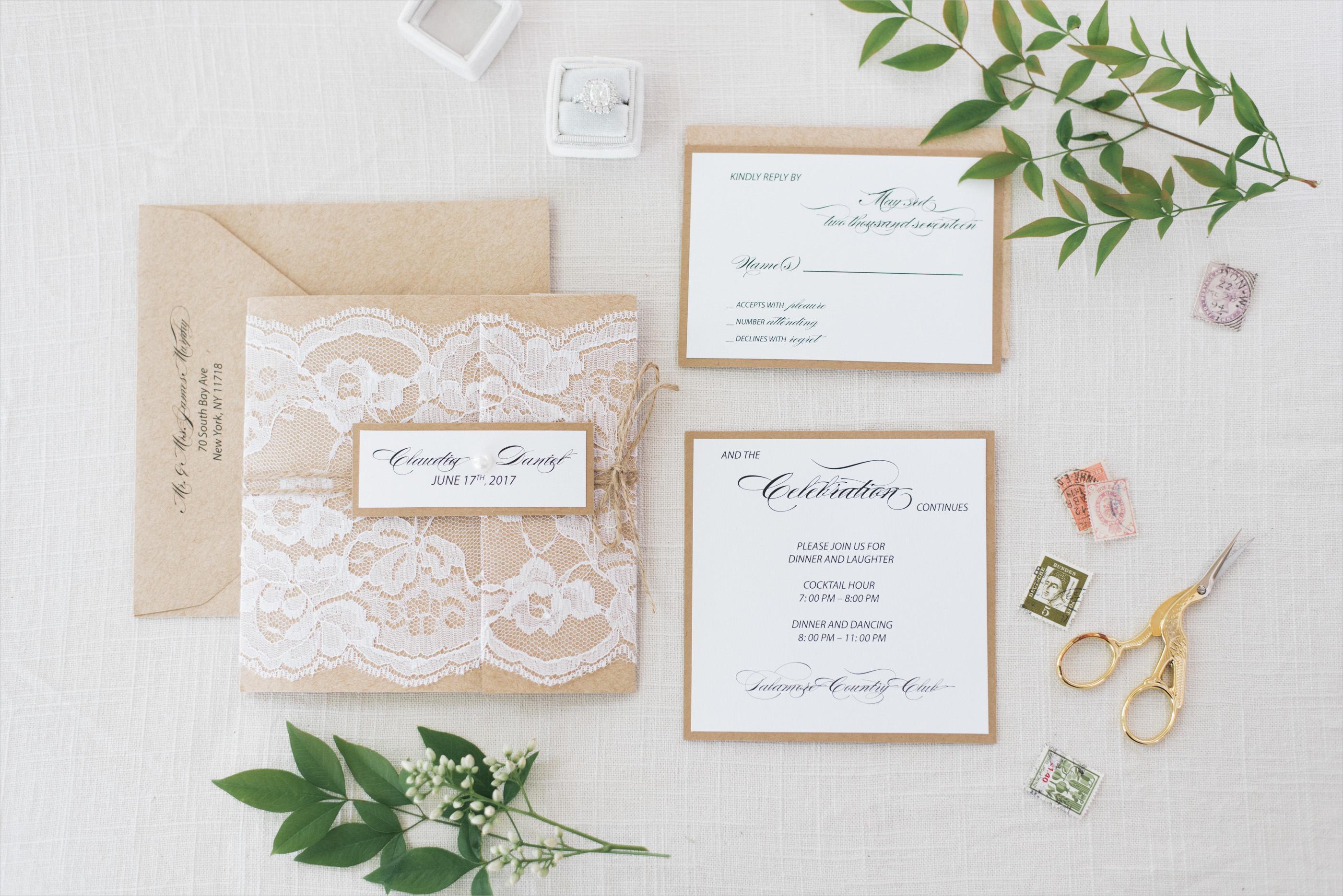 kraft lace outdoor wedding invitation