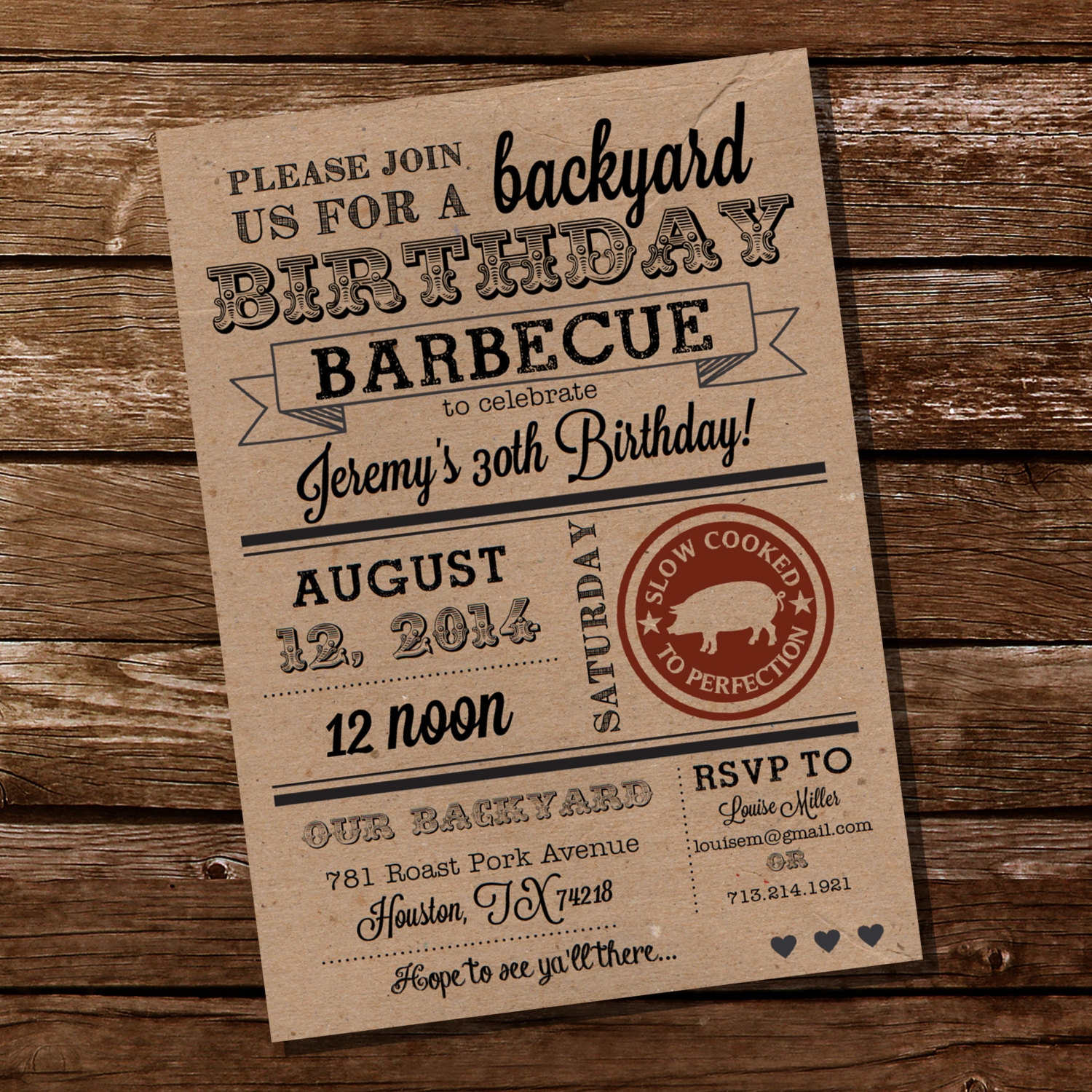 kraft paper bbq birthday invitation