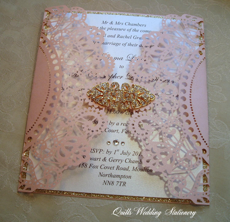 lace effect luxury wedding invitation
