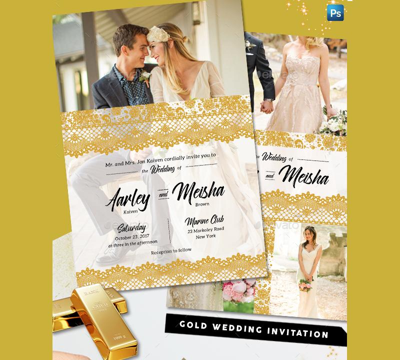 lace gold wedding invitation