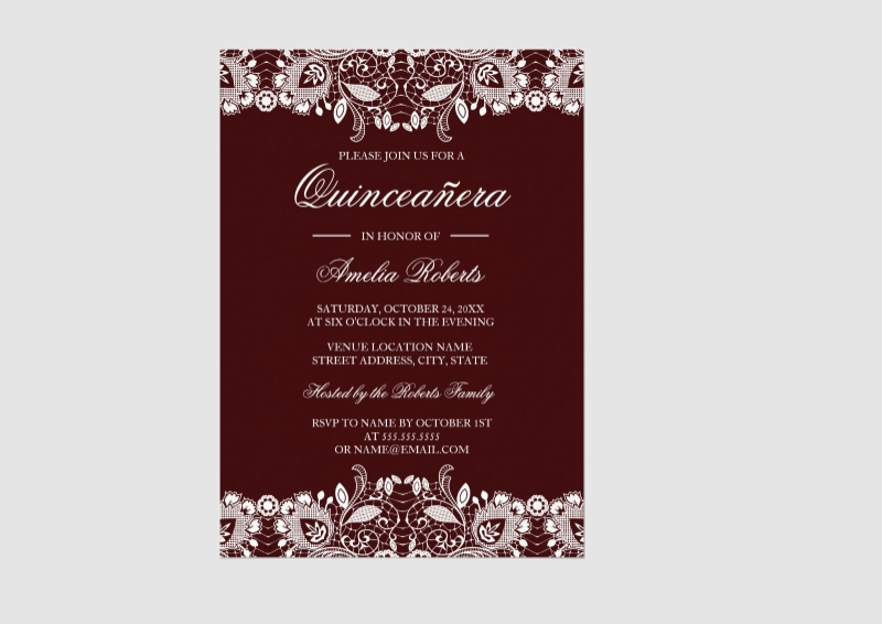 lace quinceanera invitation
