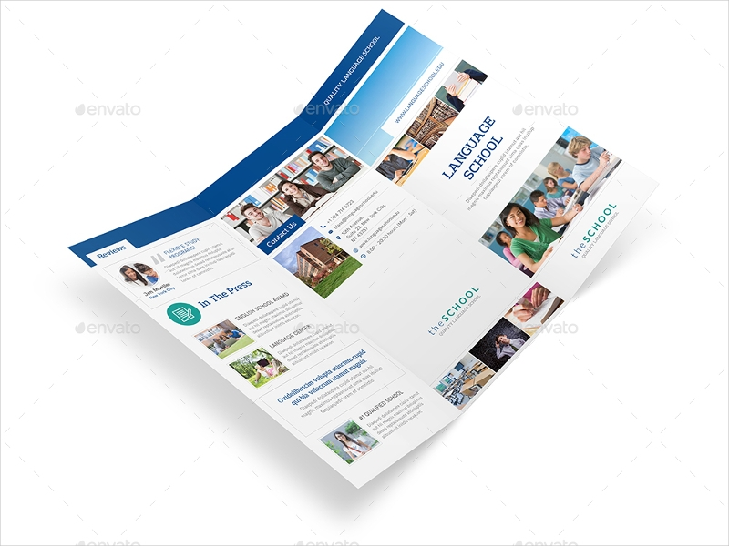 language school trifold brochure