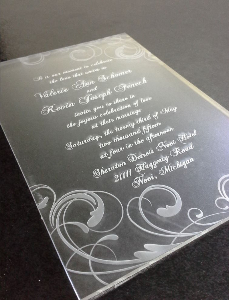 laser cut and engraved acrylic invitation design