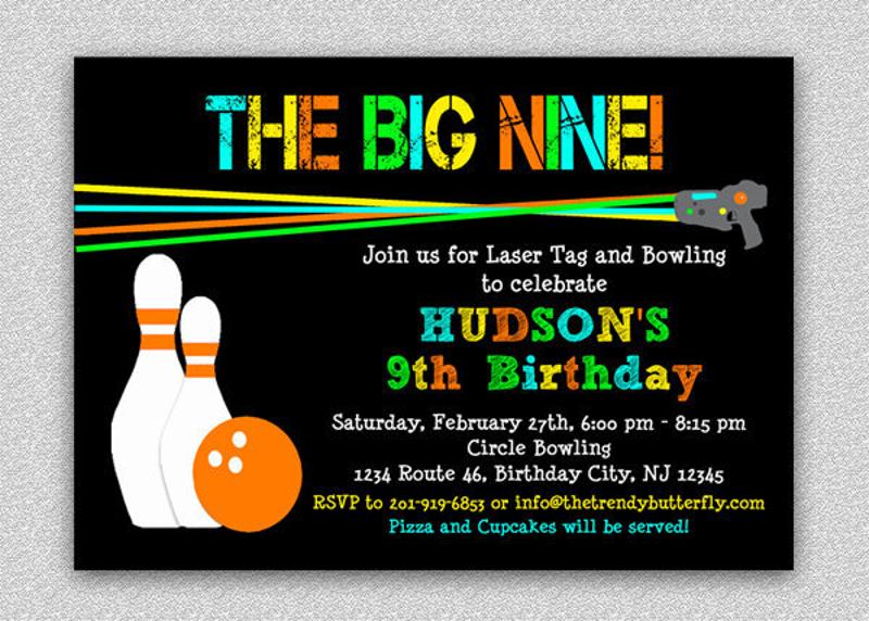 laser tag bowling invitation