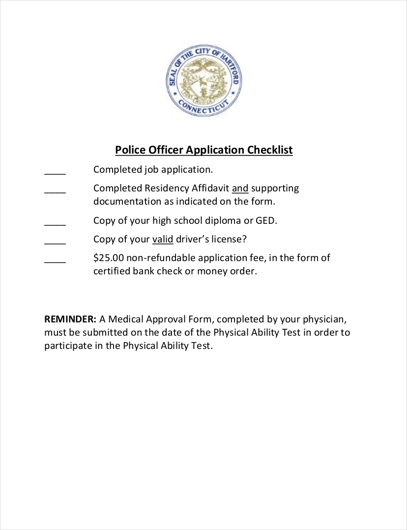 last minute police officer application checklist sample1