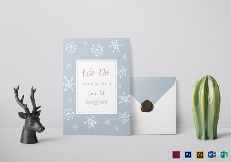 lasting winter wedding invitation template