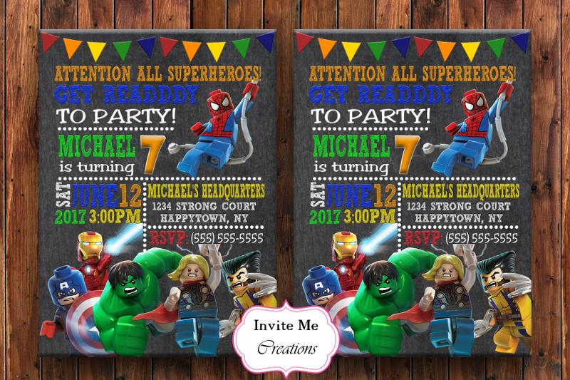 lego superhero invitation