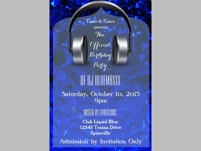 liquid blue dj party invitation
