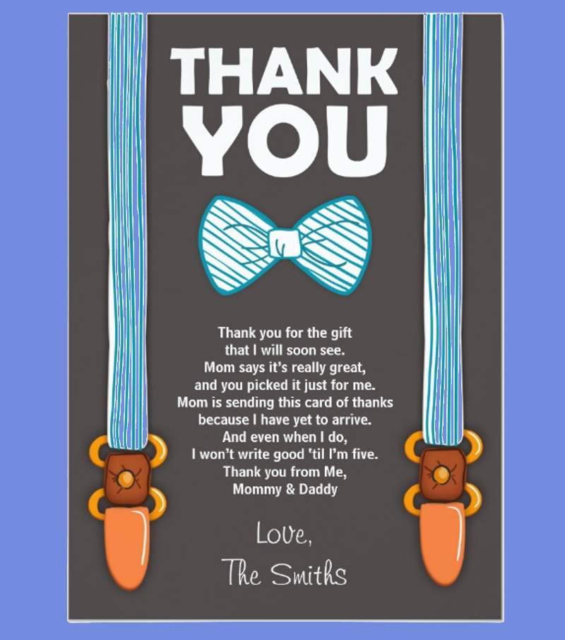 little man baby shower thank you invitation