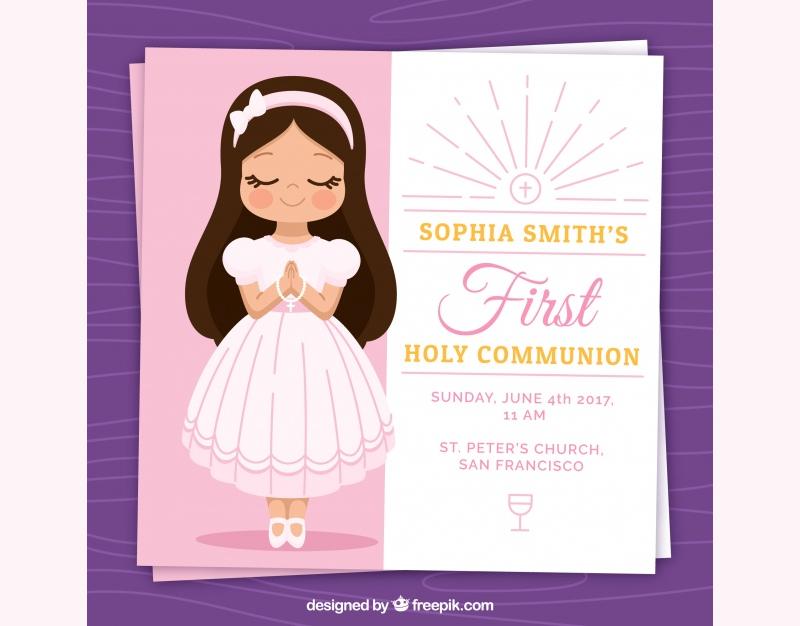 lovely first girl communion invitation