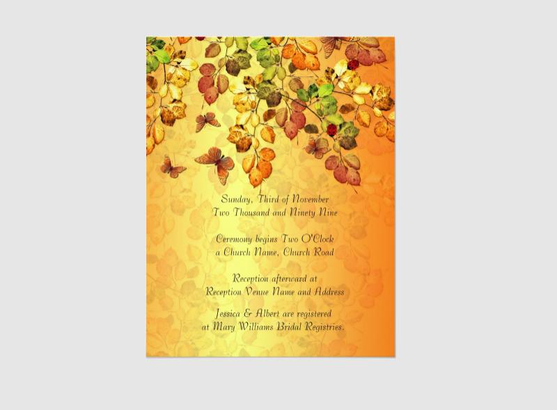 luxury autumn wedding invitation