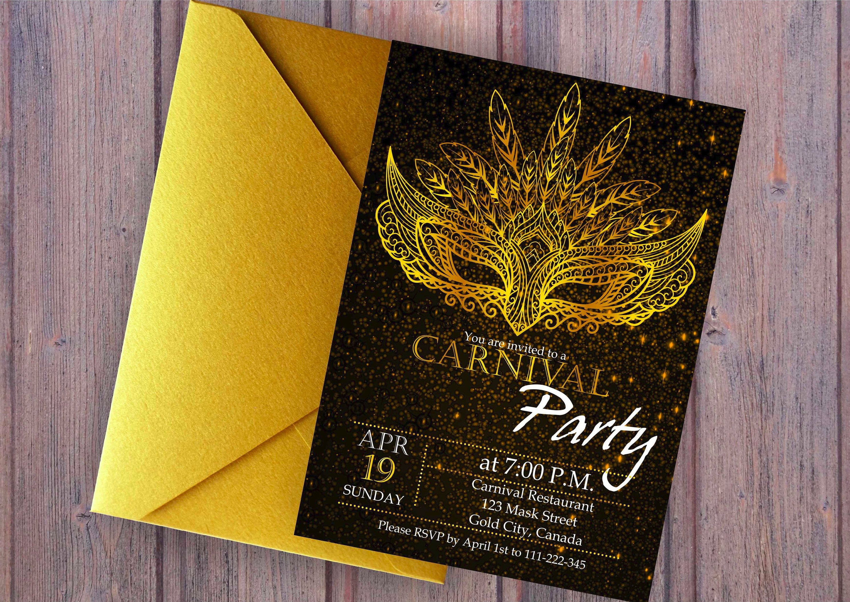 luxury carnival party invitation