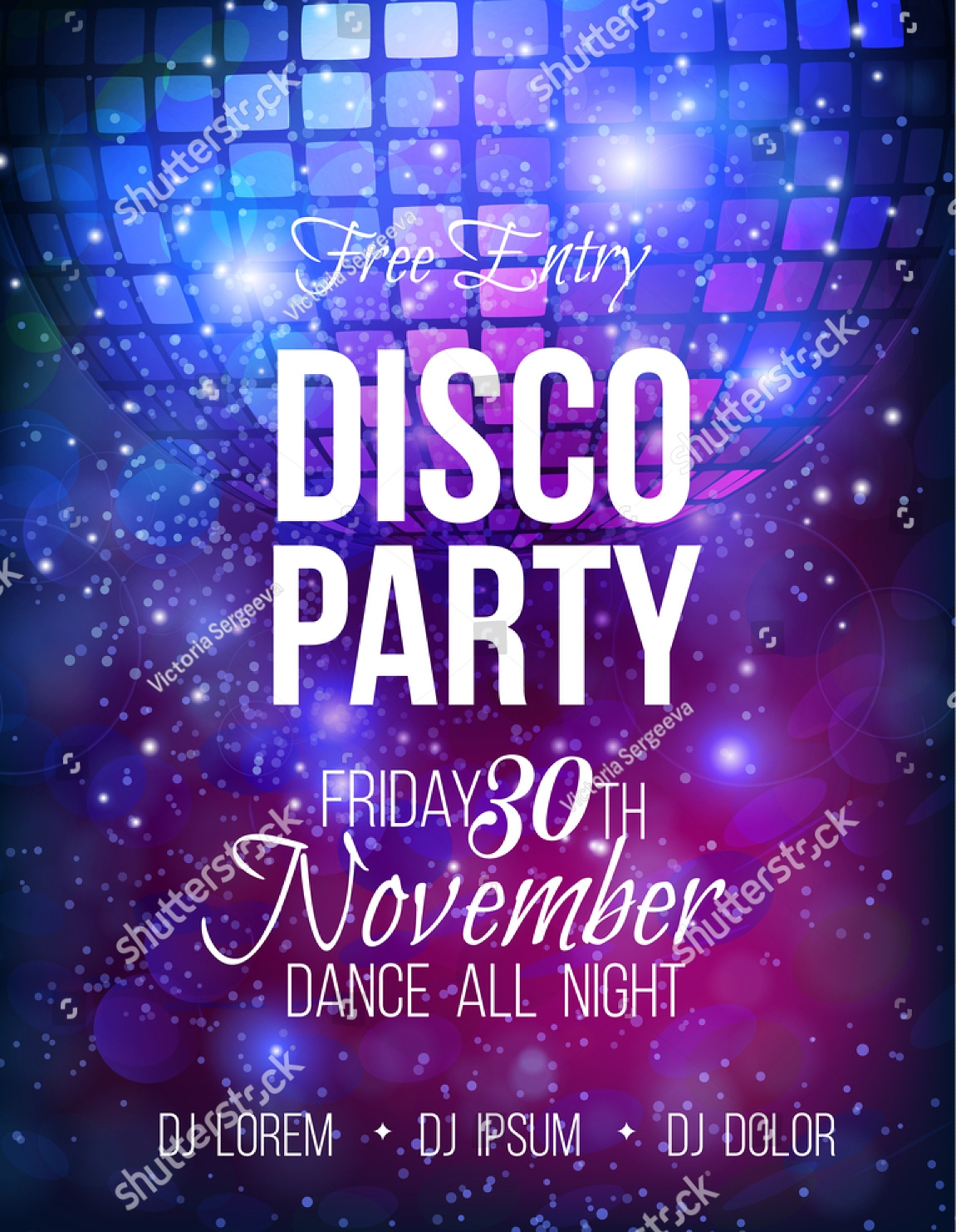 luxury disco party invitation