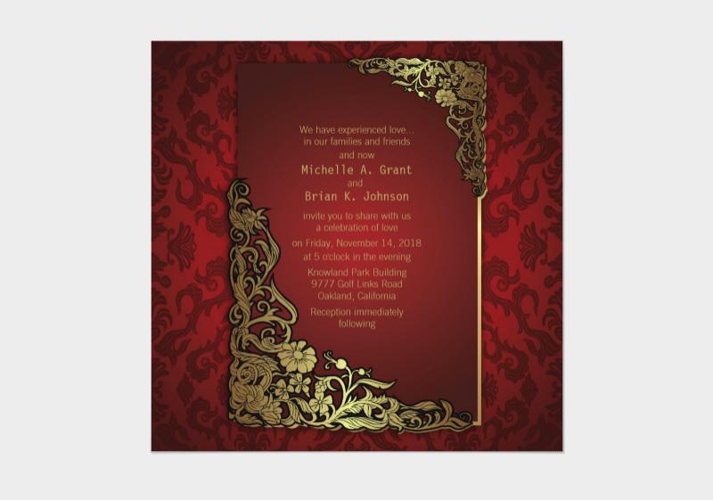 luxury golden red wedding invitation