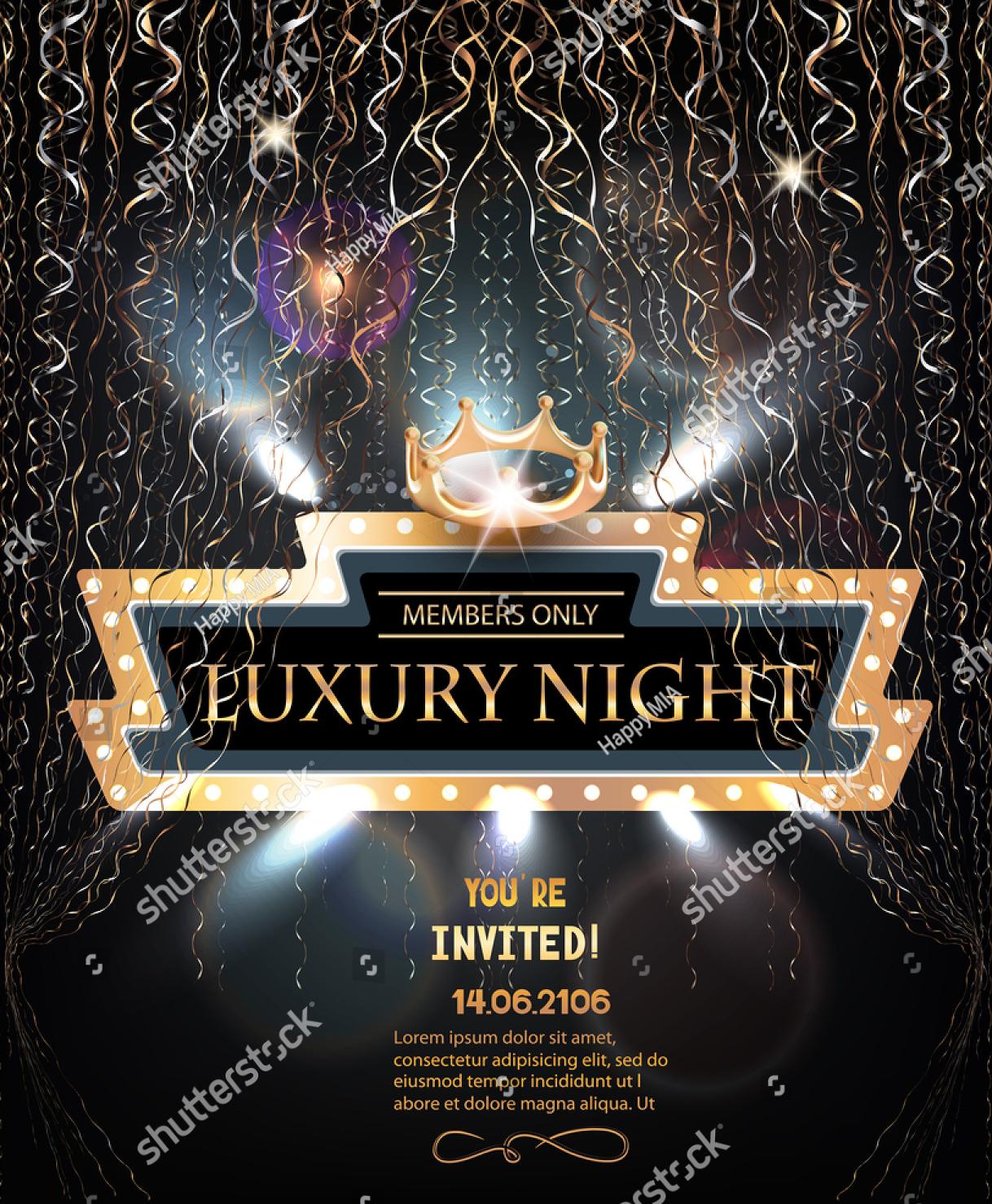 luxury night party invitation
