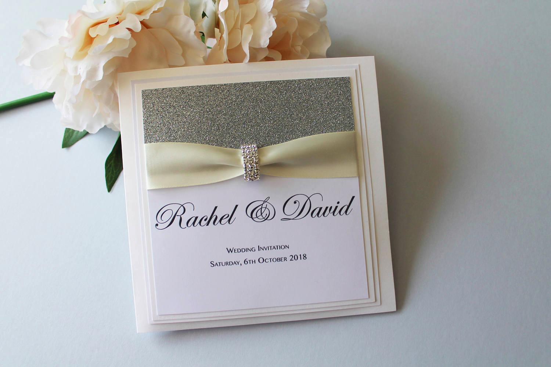 luxury wedding invitation with ribbon