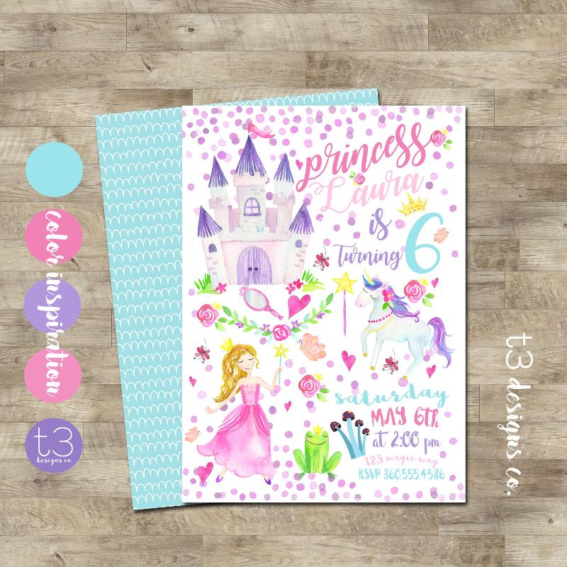 magical princess birthday invitation