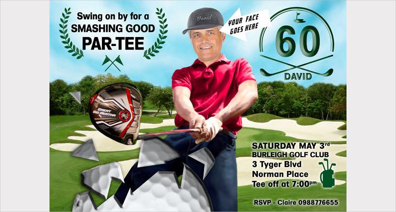 mans golf birthday party invitation