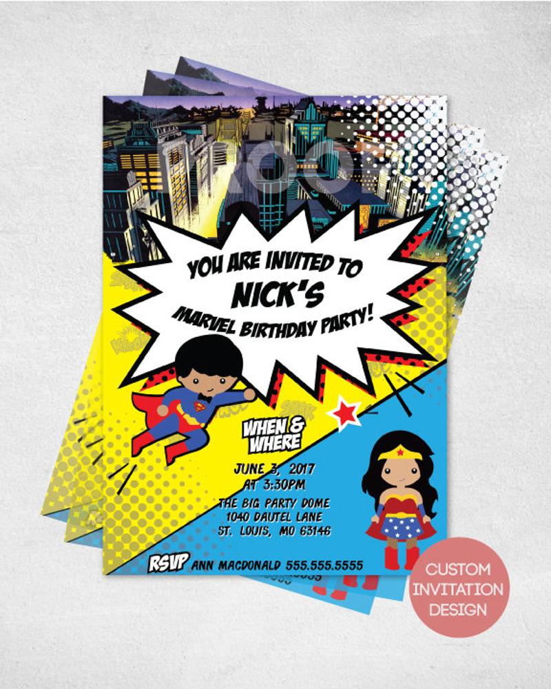 marvel superhero invitation