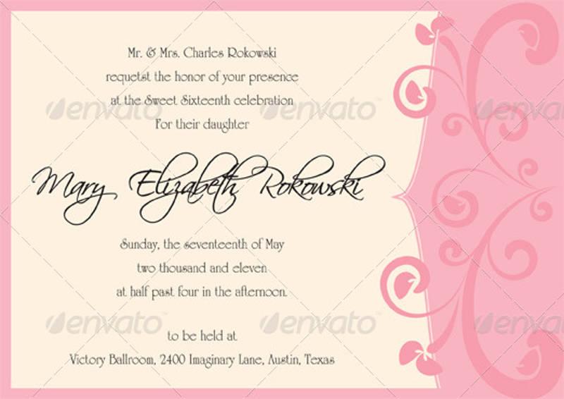mary sweet sixteen invitation design