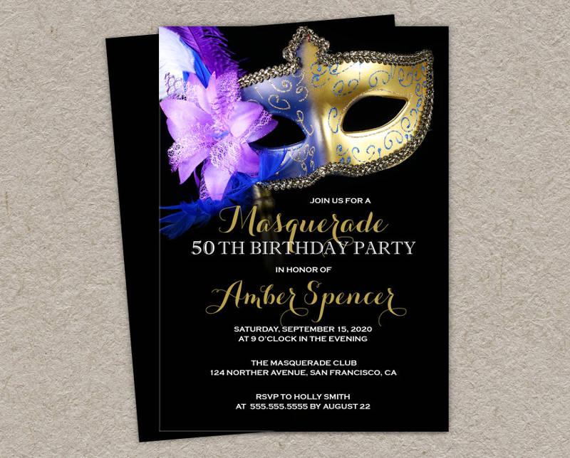 masquerade 50th birthday invitation
