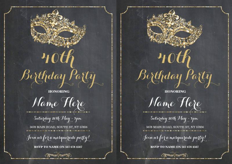 masquerade birthday invitation design