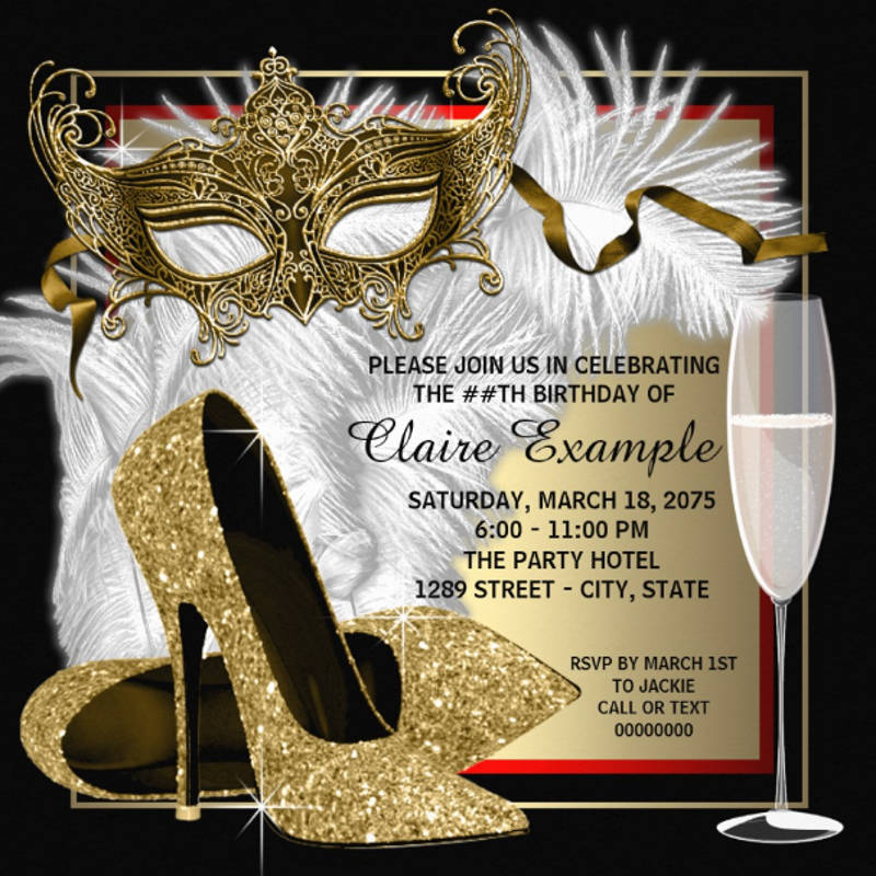 masquerade birthday party invitation card