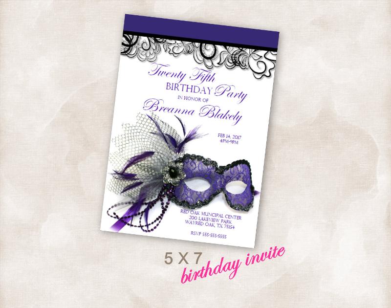 masquerade birthday party invitation card1