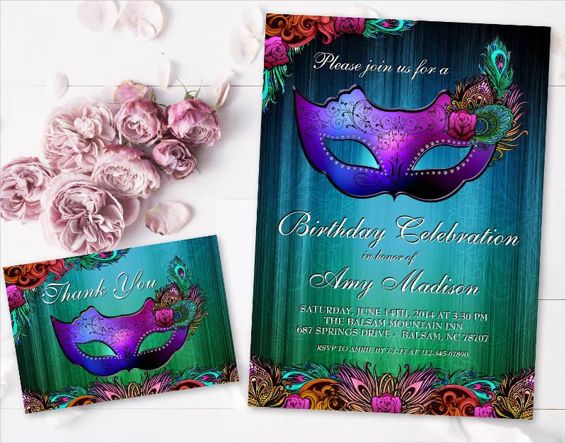 masquerade birthday party invitation