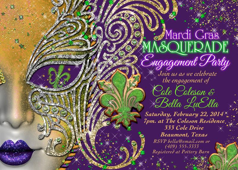 masquerade engagement party invitation