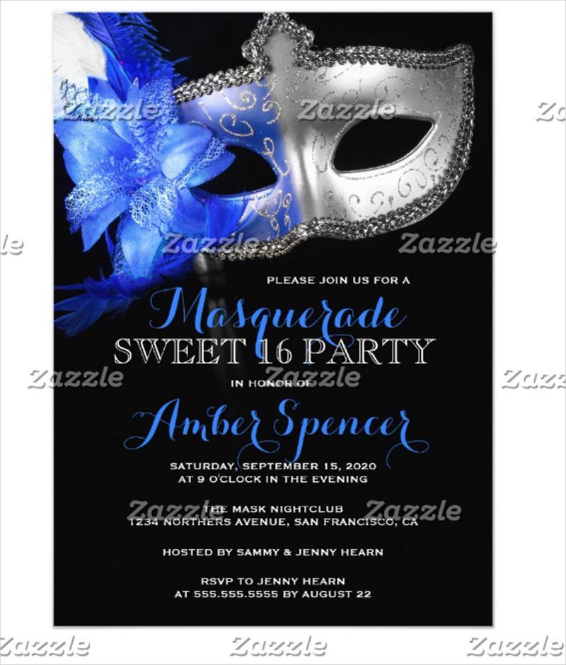 masquerade mardi gras birthday party invitation