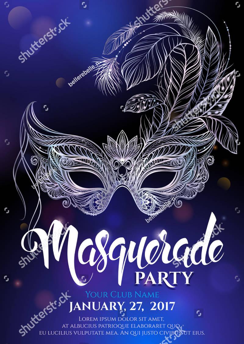 masquerade mask birthday invitation