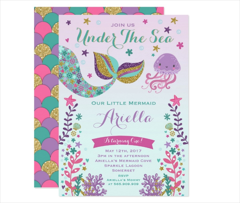mermaid birthday invitation under the sea