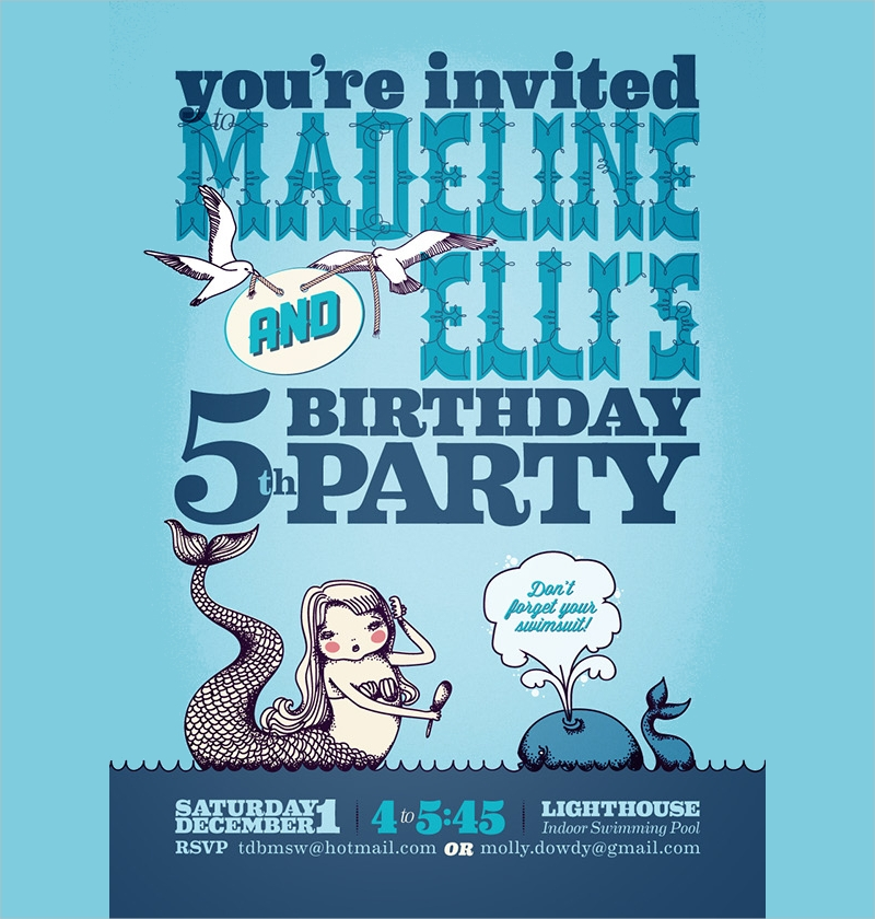 mermaid birthday party invitation1