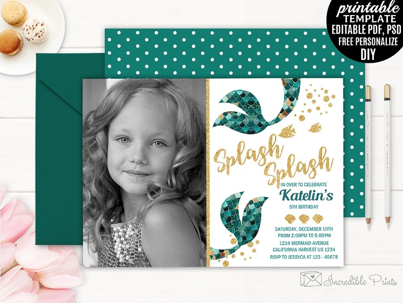 mermaid girl birthday party invitation