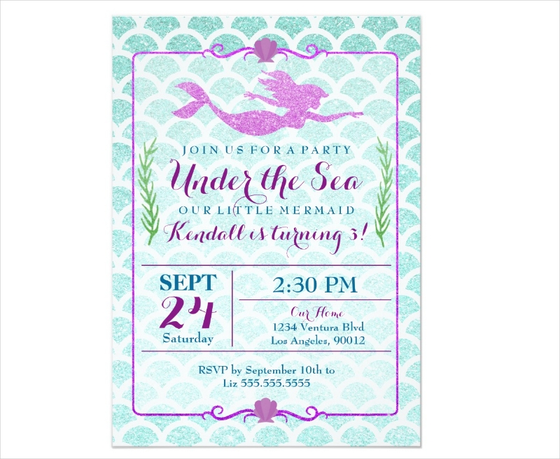 mermaid girls birthday party invitation
