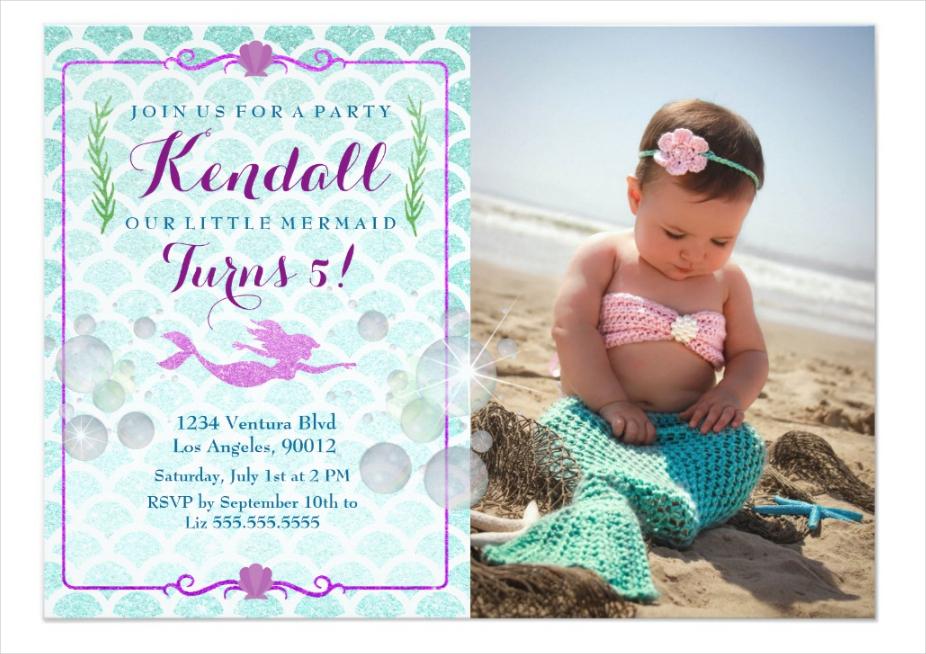 mermaid girls birthday party photo invitation