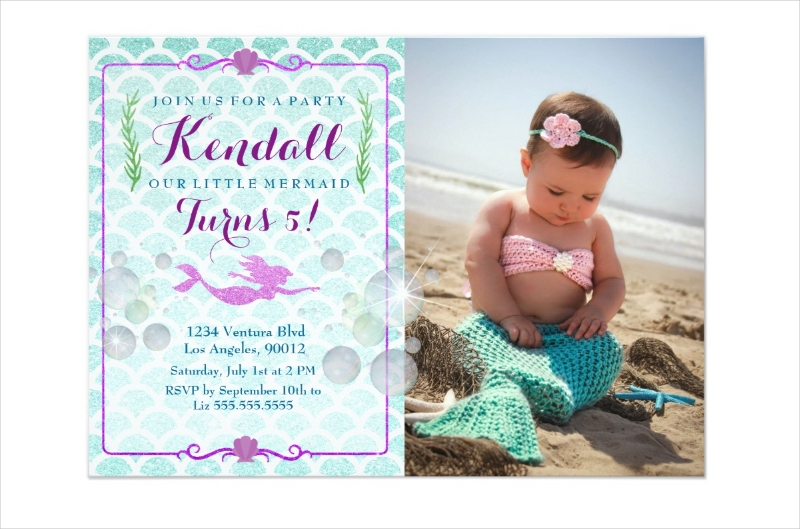 mermaid girls birthday photo invitation