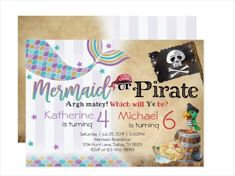 mermaid pirate birthday party invitation