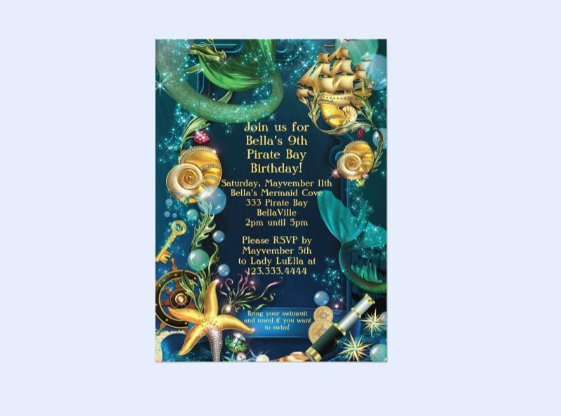 mermaid pirate party invitation