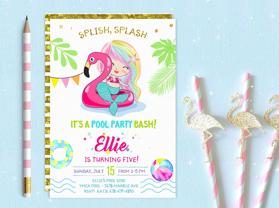 mermaid pool party invitation