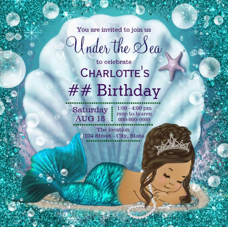 mermaid under the sea birthday party card