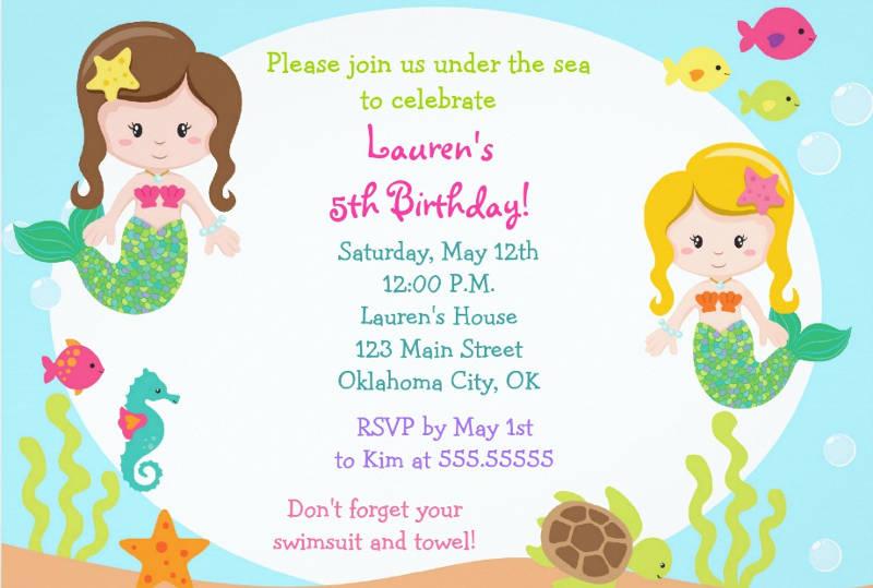 mermaid under the sea birthday party invitation